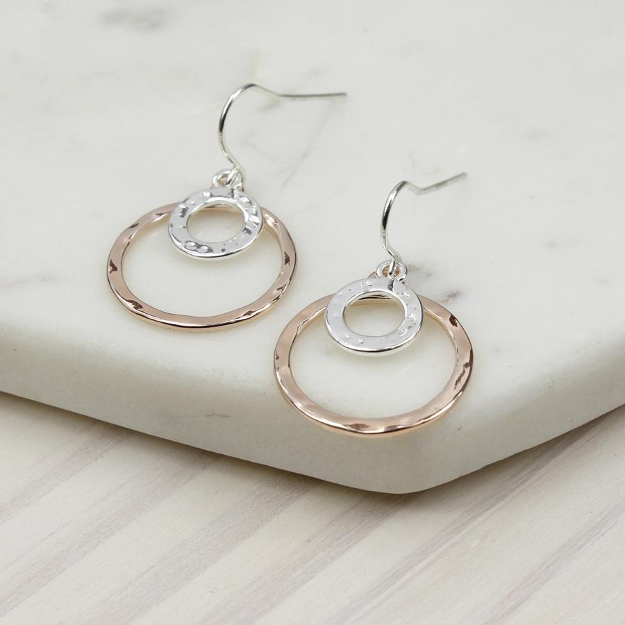 Silver Rose Gold Double Hoop Earrings – HomebyRachel 09a272696477